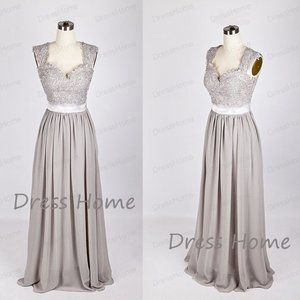 Silver Grey Maxi Chiffon-Lace Bridesmaid Maxi
